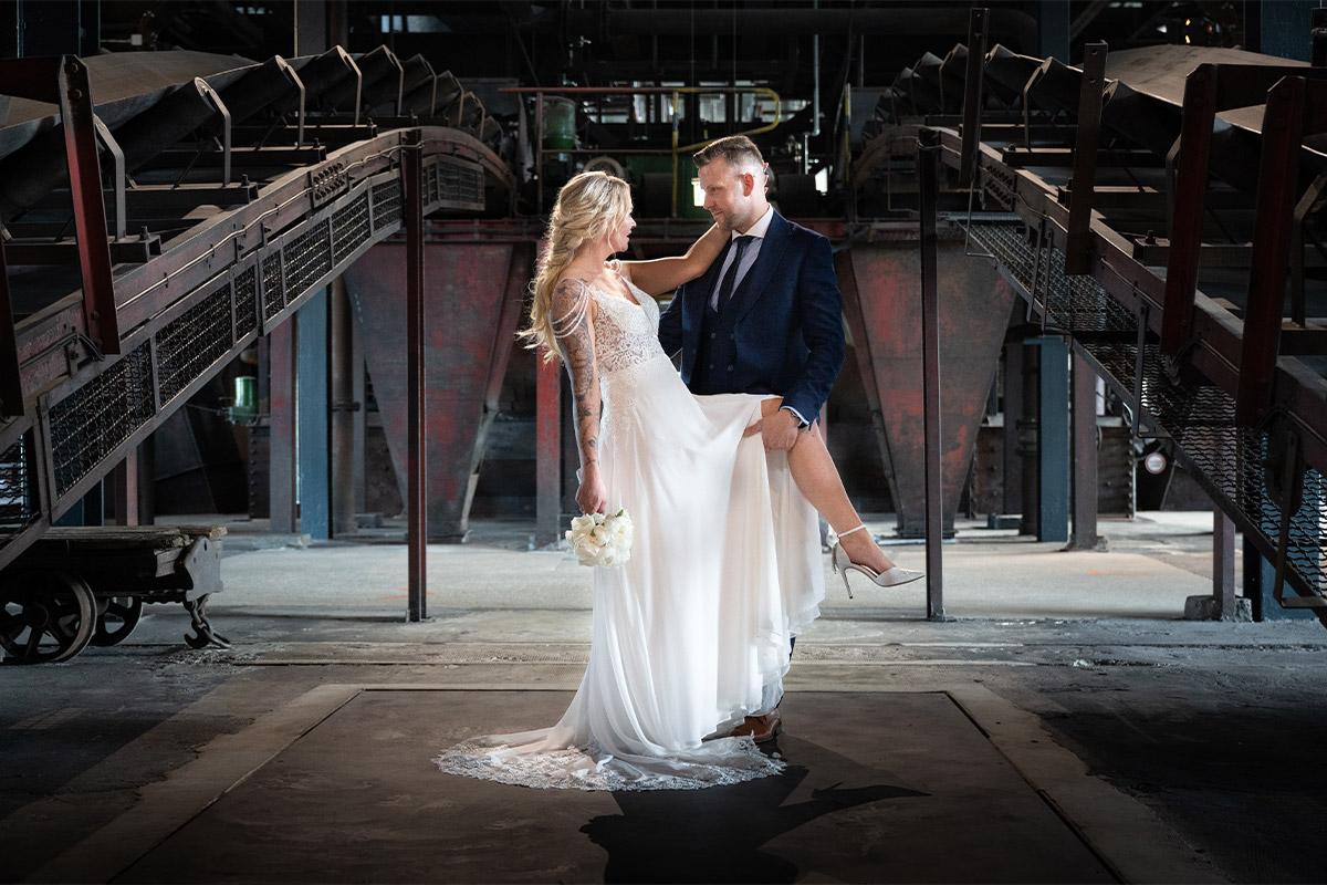 Hochzeitsfoto auf Zeche Zollverein in Essen