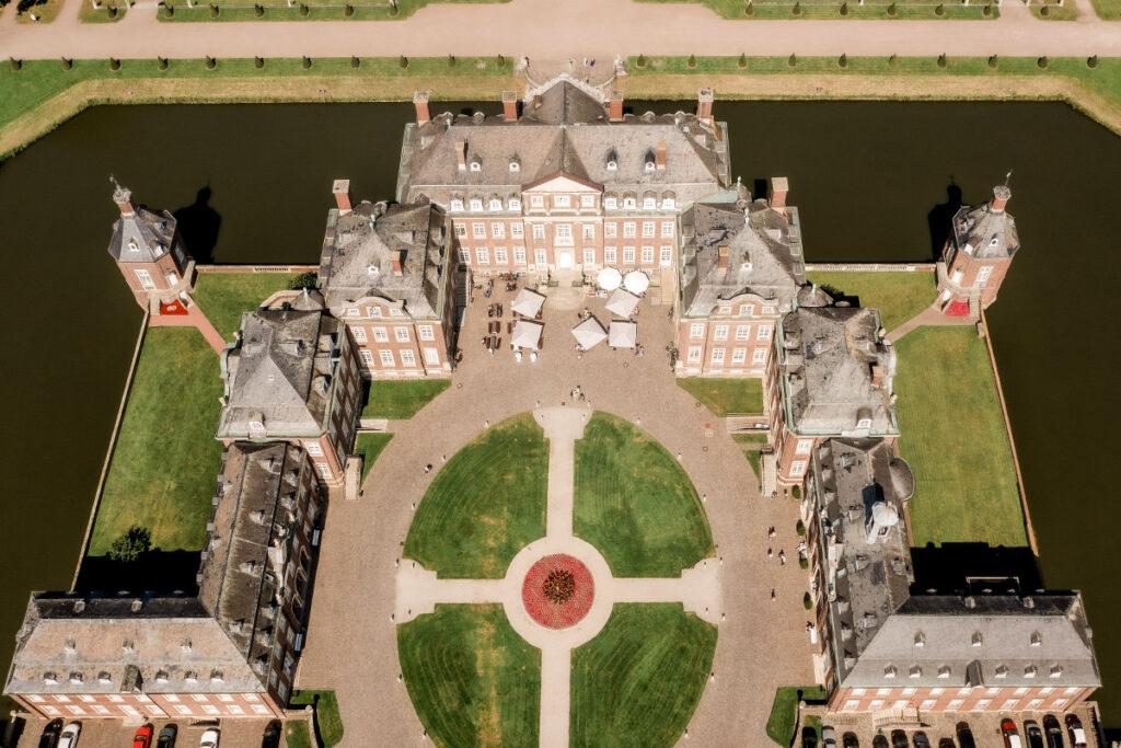 Wasserschloss Nordhausen mit der Drohne fotografiert